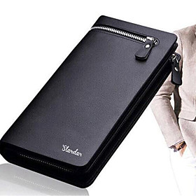 Men's Bags PU Leather Wallet Solid Color for Daily Black / Brown / Fall  Winter