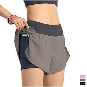 INFLACHI Women's Running Shorts Athletic Bottoms with Phone Pocket 2 in 1 Liner Gym Workout Marathon Running Jogging Trail Training Lightweight Breat