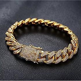 Men's White Bracelet Cuban Link Weave Trendy Alloy Bracelet Jewelry Gold / Silver For Party Evening