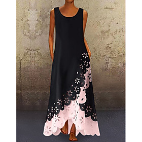 Women's A-Line Dress Maxi long Dress - Sleeveless Floral Hole Summer U Neck Plus Size Casual Hot vacation dresses 2020 White Purple Blushing Pink Gold Light Bl