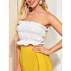 Women's Blouse Shirt Solid Colored Ruffle Strapless Tops Basic Top White