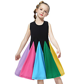 Kids Toddler Girls' Active Sweet Striped Patchwork Sleeveless Knee-length Dress Black