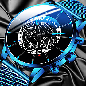 Men's Steel Band Watches Quartz Modern Style Stylish Classic Calendar / date / day Analog Black Blue Gold / One Year / Stainless Steel / Large Dial