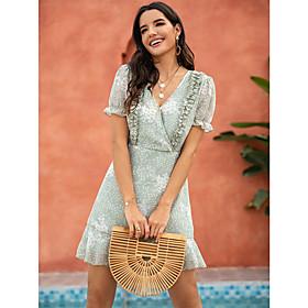 Women's A-Line Dress Short Mini Dress - Short Sleeve Geometric Patchwork Print Summer V Neck Casual 2020 Green S M L XL
