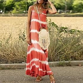Women's A-Line Dress Maxi long Dress - Sleeveless Striped Summer V Neck Casual 2020 Blue Purple Blushing Pink Orange Green Gray S M L XL XXL 3XL 4XL 5XL