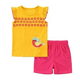 Kids Girls' Basic Cartoon Sleeveless Clothing Set Yellow Fabric:Cotton; Sleeve Length:Sleeveless; Gender:Girls'; Style:Basic; Kids Apparel:Clothing Set; Age Group:Kids; Pattern:Cartoon; Front page:FF; Listing Date:06/20/2020; Bust:; Length [Bottom]:; Length [Top]: