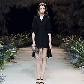 Sheath / Column Little Black Dress Minimalist Homecoming Cocktail Party Dress V Neck Half Sleeve Asymmetrical Spandex with Sleek 2020