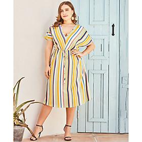 Women's A-Line Dress Knee Length Dress - Short Sleeve Striped Summer V Neck Plus Size Casual 2020 Yellow L XL XXL