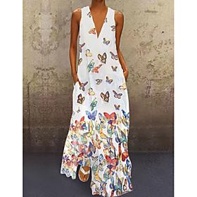 Women's A-Line Dress Maxi long Dress - Sleeveless Butterfly Animal Print Summer Deep V Plus Size Casual Hot Beach 2020 White Purple Yellow Blushing Pink Light