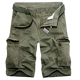 Men's Basic Daily Loose Shorts Tactical Cargo Pants Solid Colored Summer Black Yellow Army Green US38 / UK38 / EU46 US40 / UK40 / EU48 US42 / UK42 / EU50