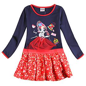 Kids Girls' Active Sweet Blue Cartoon Bow Patchwork Long Sleeve Knee-length Dress Royal Blue
