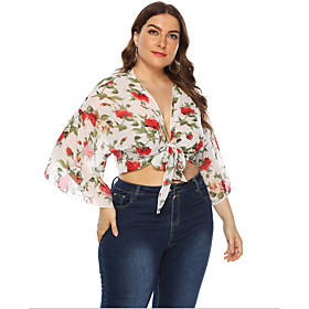 Women's Going out Plus Size Blouse Shirt Floral Flower Long Sleeve V Neck Tops Basic Top White