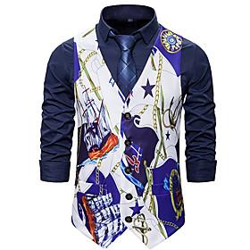 Men's V Neck Vest Geometric Blue / Purple US32 / UK32 / EU40 / US36 / UK36 / EU44 / US38 / UK38 / EU46