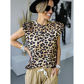 Women's Blouse Shirt Leopard Cheetah Print Print Round Neck Tops Basic Basic Top Green Brown