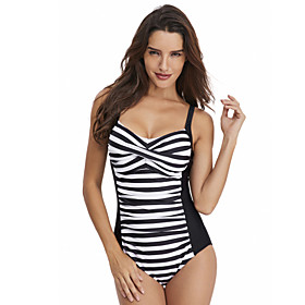 Women's Front Cross One Piece Swimsuit Padded Swimwear Bodysuit Swimwear White Black Purple Breathable Quick Dry Comfortable Sleeveless - Swimming Surfing Wate