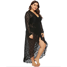 Women's A-Line Dress Maxi long Dress - Long Sleeve Solid Color Summer V Neck Plus Size Casual Sexy 2020 Black L XL XXL 3XL