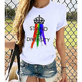 Women's T-shirt Rainbow Graphic Prints Printing Round Neck Tops Loose 100% Cotton Basic Top White