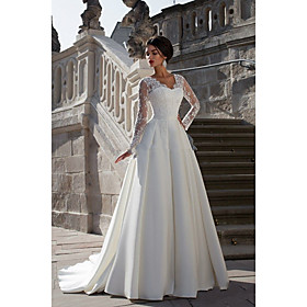 A-Line Wedding Dresses Strapless Court Train Lace Satin Long Sleeve Formal with Appliques 2020