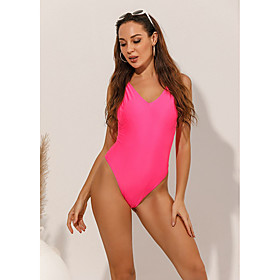 Women's Sexy Lace Tankini One-piece Swimsuit Lace up Solid Colored Swimwear Bathing Suits Blushing Pink / Padded Bras