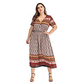 Women's A-Line Dress Midi Dress - Short Sleeve Print Summer V Neck Plus Size Casual Vintage 2020 Light Brown L XL