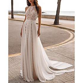 A-Line Wedding Dresses Halter Neck Sweep / Brush Train Chiffon Sleeveless Beach Sexy See-Through with Embroidery 2020