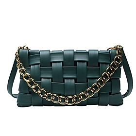 Women's Bags PU Leather Crossbody Bag Zipper Chain Solid Color for Daily White / Black / Red / Khaki