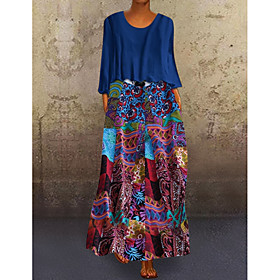 Women's Two Piece Dress Maxi long Dress - 3/4 Length Sleeve Graphic Print Plus Size Holiday Loose Blue Purple Orange M L XL XXL 3XL 4XL 5XL