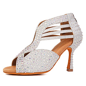 Women's Dance Shoes Latin Shoes / Ballroom Shoes / Salsa Shoes Heel Rhinestone / Crystals Flared Heel Customizable Black / Gold / Silver / Performance / Practi