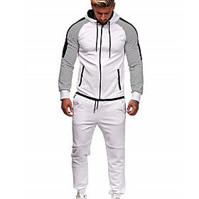 Men's Activewear Set Solid Colored Hooded Basic Hoodies Sweatshirts  White Black Blue