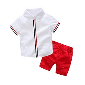 Kids Boys' Basic Print Short Sleeve Clothing Set Red Fabric:Cotton; Sleeve Length:Short Sleeve; Gender:Boys'; Style:Basic; Kids Apparel:Clothing Set; Age Group:Kids; Pattern:Print; Front page:FF; Listing Date:06/02/2020; Bust:; Length [Bottom]:; Length [Top]: