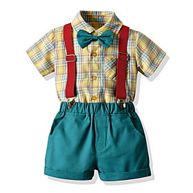 Kids Toddler Boys' Basic Check Short Sleeve Clothing Set Yellow Fabric:Cotton; Sleeve Length:Short Sleeve; Gender:Boys'; Style:Basic; Kids Apparel:Clothing Set; Age Group:Toddler,Kids; Pattern:Check; Front page:FF; Listing Date:06/03/2020; Bust:; Length [Bottom]:; Length [Top]: