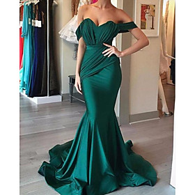 Mermaid / Trumpet Reformation Amante Sexy Engagement Formal Evening Dress Sweetheart Neckline Sleeveless Sweep / Brush Train Charmeuse with Sleek Draping 2020