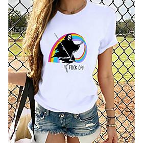 Women's Halloween T-shirt Rainbow Graphic Prints Printing Round Neck Tops Loose 100% Cotton Halloween Basic Top White