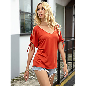 Women's Blouse Shirt Solid Colored Boat Neck Tops Loose Basic Top Red