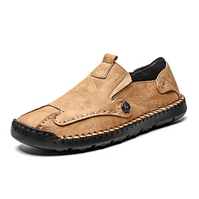 Men's Loafers  Slip-Ons Casual Daily Outdoor Walking Shoes Faux Leather Handmade Wear Proof Light Yellow / Black / Beige Spring / Fall