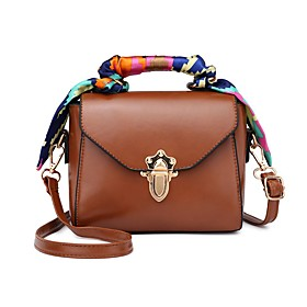 Women's Bags PU Leather Crossbody Bag Solid Color for Daily Dark Brown / Black / Brown