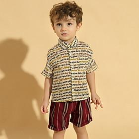 Kids Toddler Boys' Basic Print Short Sleeve Clothing Set Blue Fabric:Cotton; Sleeve Length:Short Sleeve; Gender:Boys'; Style:Basic; Kids Apparel:Clothing Set; Age Group:Toddler,Kids; Pattern:Print; Front page:FF; Listing Date:06/04/2020; Bust:; Length [Bottom]:; Length [Top]: