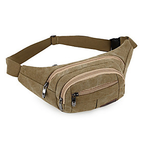 Men's Bags Nylon Fanny Pack Zipper Solid Color for Daily Black / Army Green / Khaki / Brown