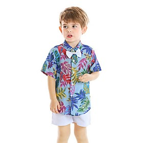 Kids Boys' Basic Print Short Sleeve Clothing Set Black Fabric:Cotton; Sleeve Length:Short Sleeve; Gender:Boys'; Style:Basic; Kids Apparel:Clothing Set; Age Group:Kids; Pattern:Print; Front page:FF; Listing Date:06/03/2020; Bust:; Length [Bottom]:; Length [Top]: