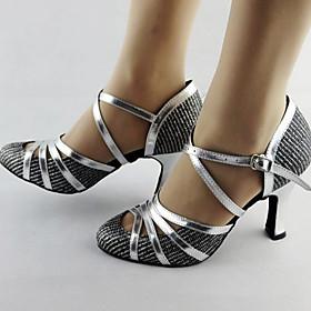 Women's Dance Shoes Latin Shoes / Ballroom Shoes / Line Dance Heel Slim High Heel Silver