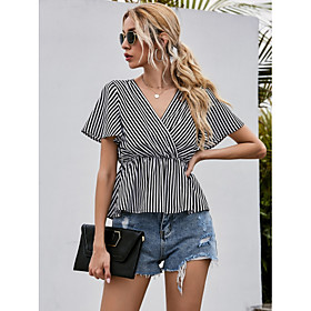 Women's Blouse Shirt Striped V Neck Tops Basic Top Black