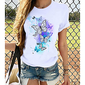 Women's T-shirt Butterfly Graphic Prints Round Neck Tops Loose 100% Cotton Basic Top White