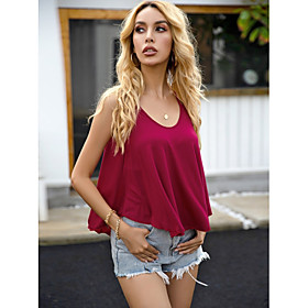Women's Camisole Solid Colored Boat Neck Tops Basic Top Red