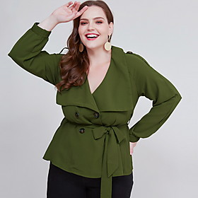 Women's Plus Size Blouse Shirt Solid Colored Long Sleeve V Neck Tops Basic Top Green