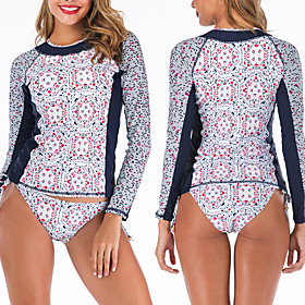 Women's Rashguard Swimsuit Elastane Swimwear Breathable Quick Dry Long Sleeve 2-Piece - Swimming Surfing Water Sports Summer / Stretchy