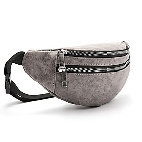 Men's Bags PU Leather Fanny Pack Zipper Solid Color for Daily Black / Red / Brown / Gray