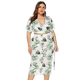 Women's Two Piece Set Basic Print Set Tops Skirt Set Geometric