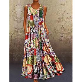 Women's A-Line Dress Maxi long Dress - Sleeveless Tribal Print Summer Casual Hot Mumu Holiday 2020 Khaki M L XL XXL 3XL 4XL 5XL