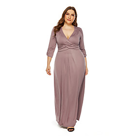 Women's Sheath Dress Maxi long Dress - 3/4 Length Sleeve Solid Color Fall V Neck Plus Size Sexy 2020 Black Blue Wine Khaki L XL XXL 3XL