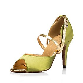 Women's Dance Shoes Latin Shoes / Ballroom Shoes / Line Dance Heel Cuban Heel Green / Performance